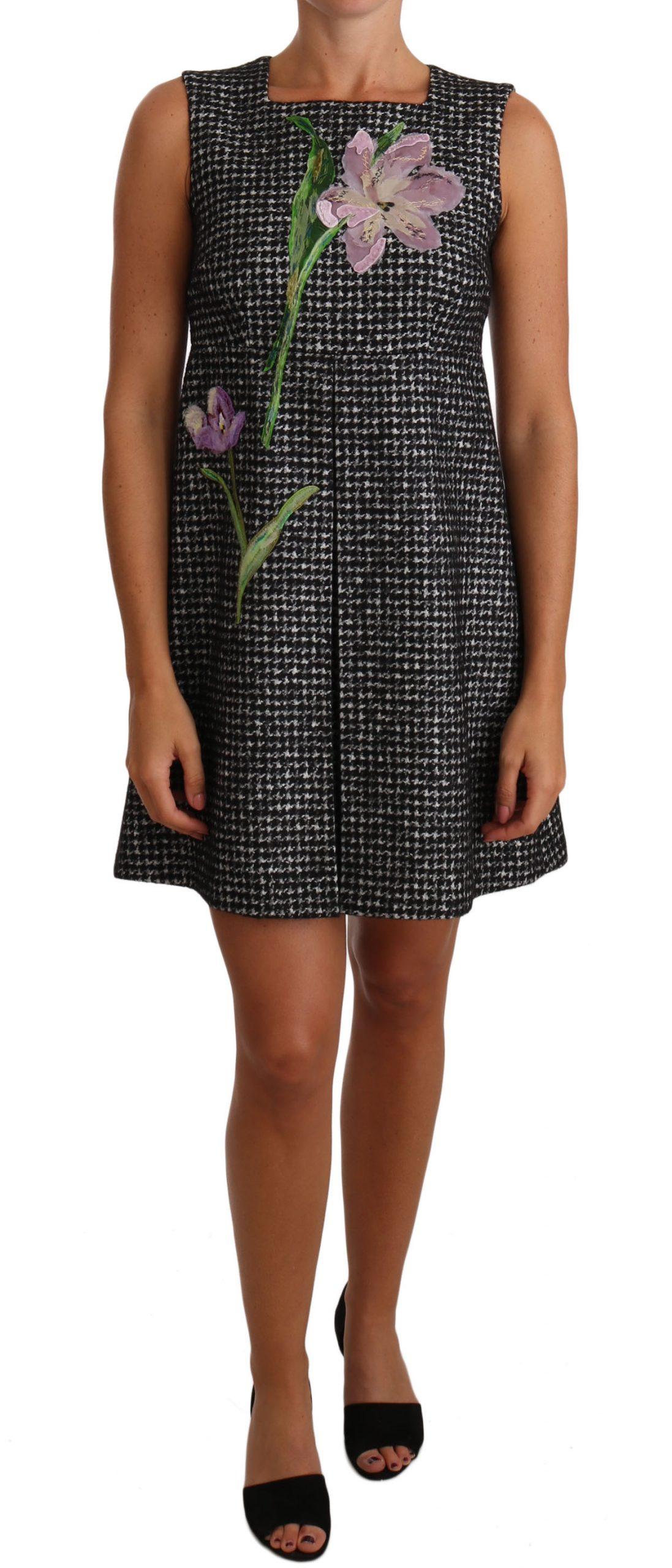 Dolce & Gabbana Women's Houndstooth Floral Appliqué Mini Dress Gray DR1439 - IT40|S
