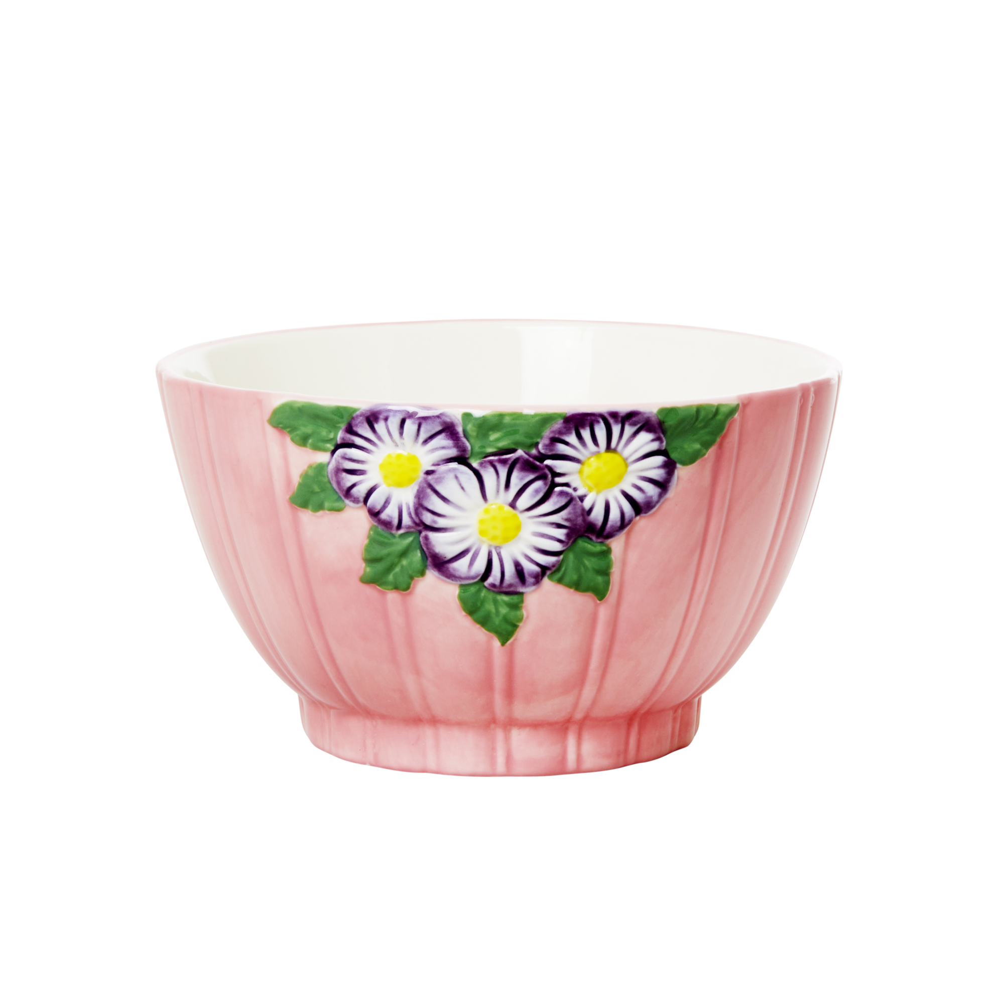 Rice - Ceramic Bowl with Embossed Flower Design - Pink