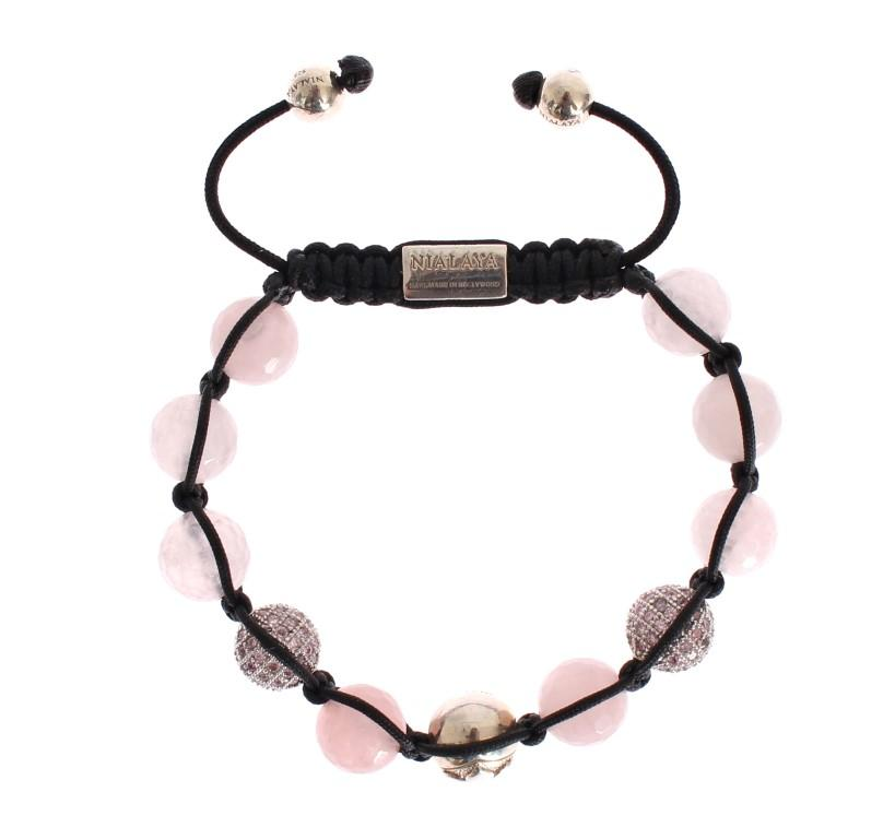 Nialaya Women's Rose Quartz CZ 925 Silver Bracelet Pink NIA20217 - M