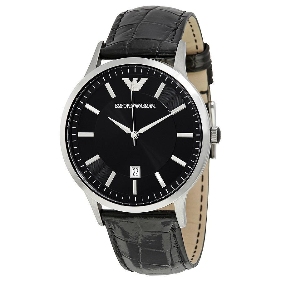 Emporio Armani Men's Renato Analog Leather Watch Black AR2411