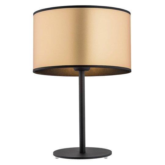 Bordlampe Lobera, tekstilskjerm i gull