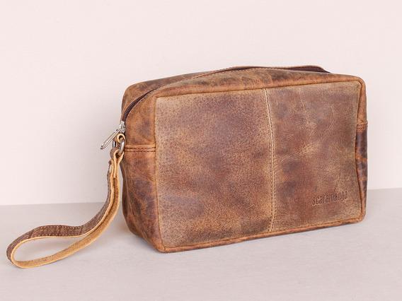 Men's Leather Wash Bag Brown