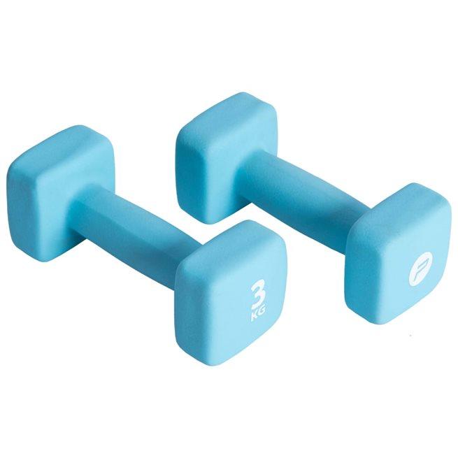 vidaXL Hantelset 2x3 kg neopren blå