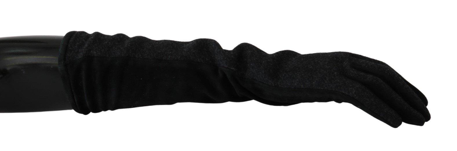 Dolce & Gabbana Women's Mid Arm Length Mittens Gloves Black LB1021 - 7.5|S