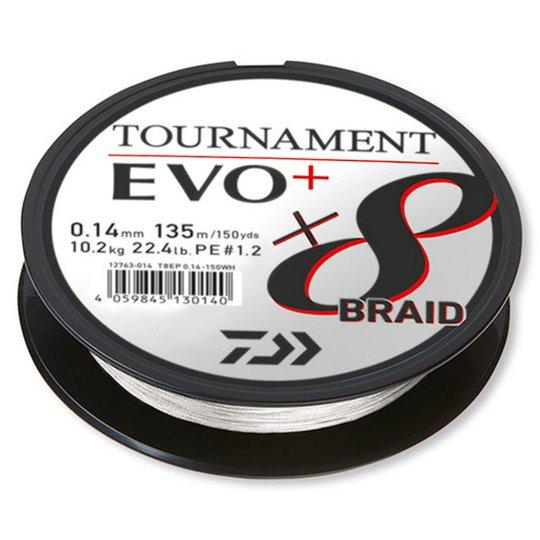 Daiwa Tournament X8 EVO+ vit 135 m flätlina