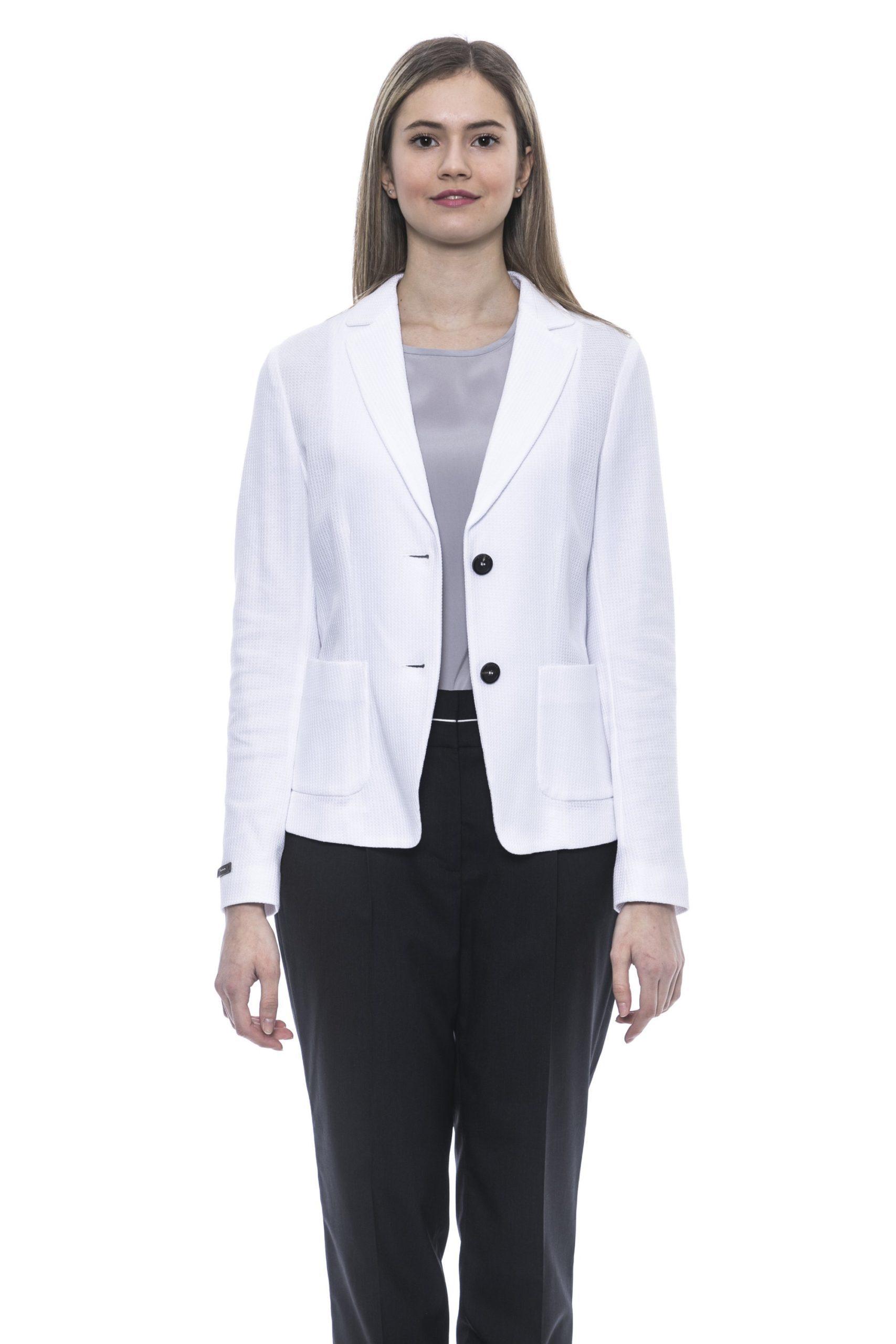 Peserico Women's Bianco Blazer White PE1381513 - IT42 | S