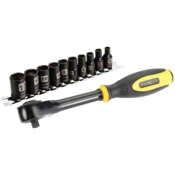 """STANLEY 0-94-607 Ringskrallenøkkel 1/4"""", med pipesett 4–13 mm, 11 deler"""