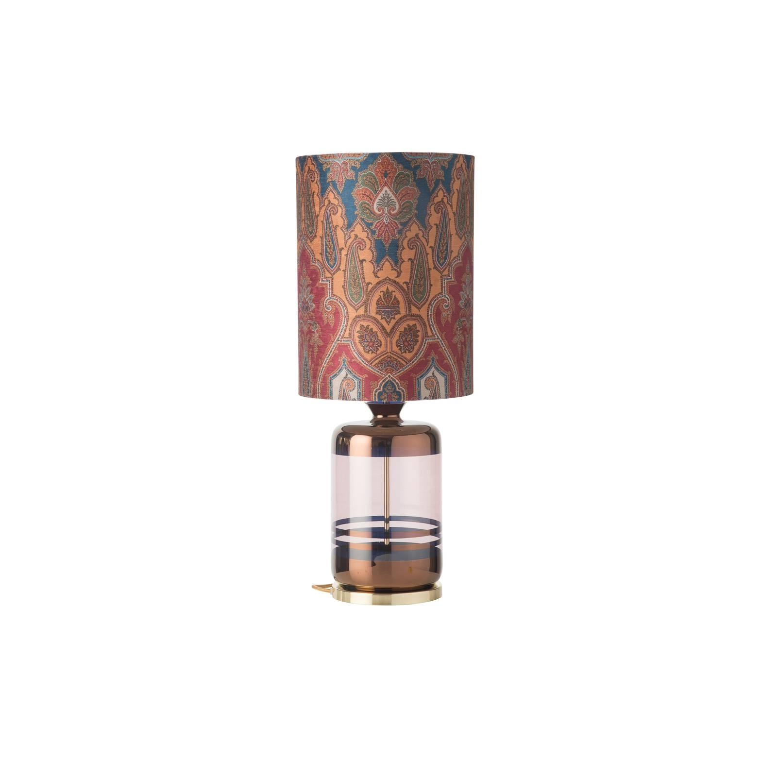 EBB & FLOW Pillar -pöytälamppu, Brocade blue/red