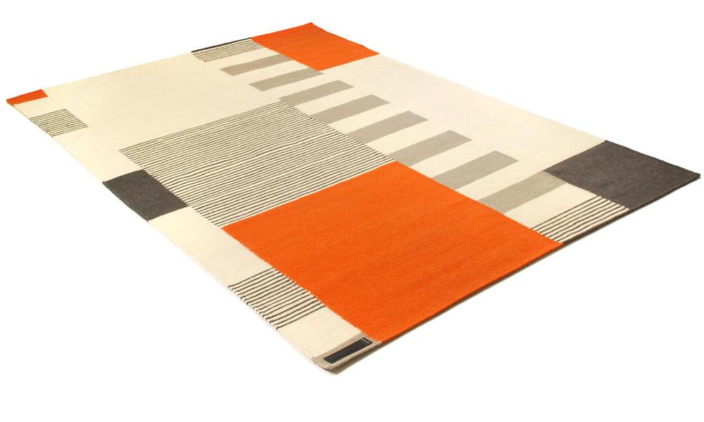 Graphic orange - håndvevd ullteppe