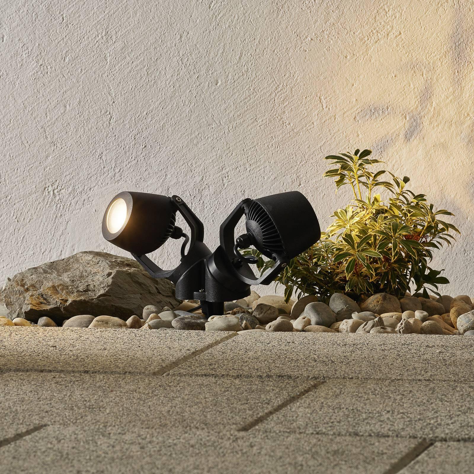 Piikkivalo Minitommy 2-lamp. CCT musta/frosted