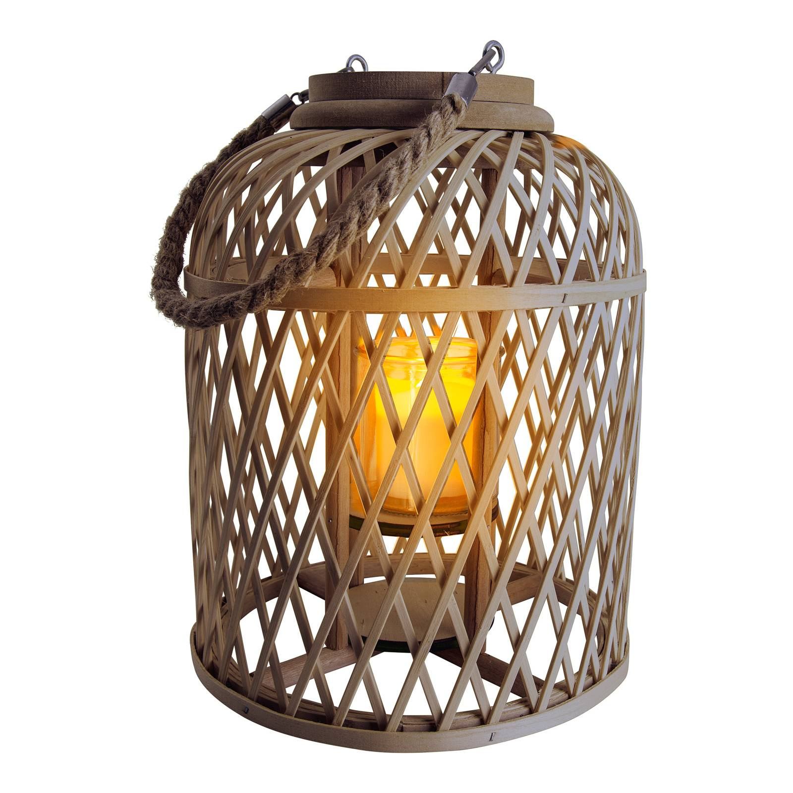 Aurinkokäyttöinen LED-lyhty Korb, 29 cm, ruskea