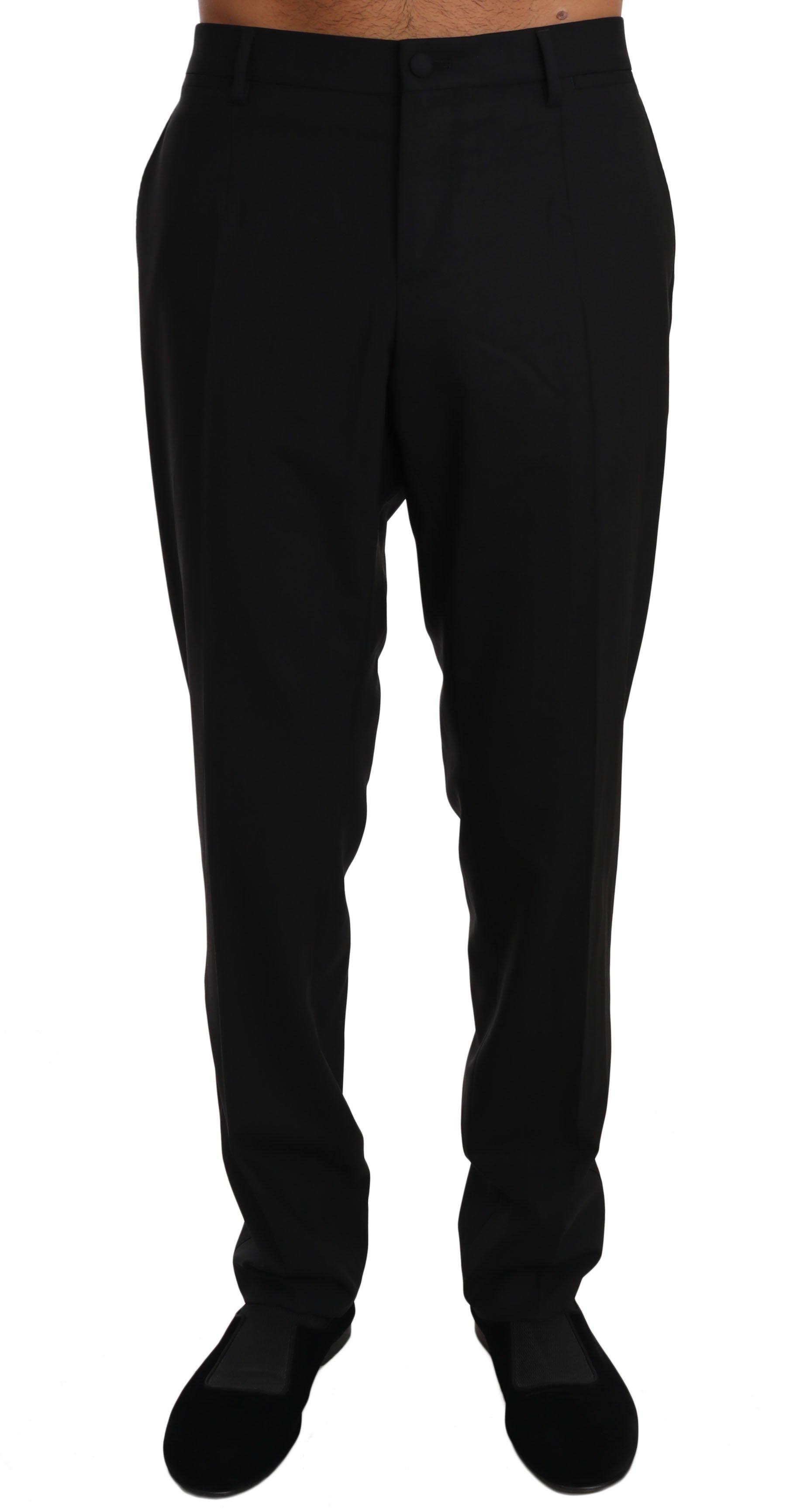 Dolce & Gabbana Men's Wool Stretch Dress Trousers Trouser Black PAN61129 - IT50 | L