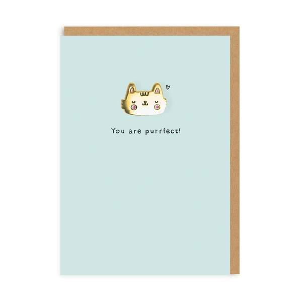 Cat Enamel Pin Greeting Card