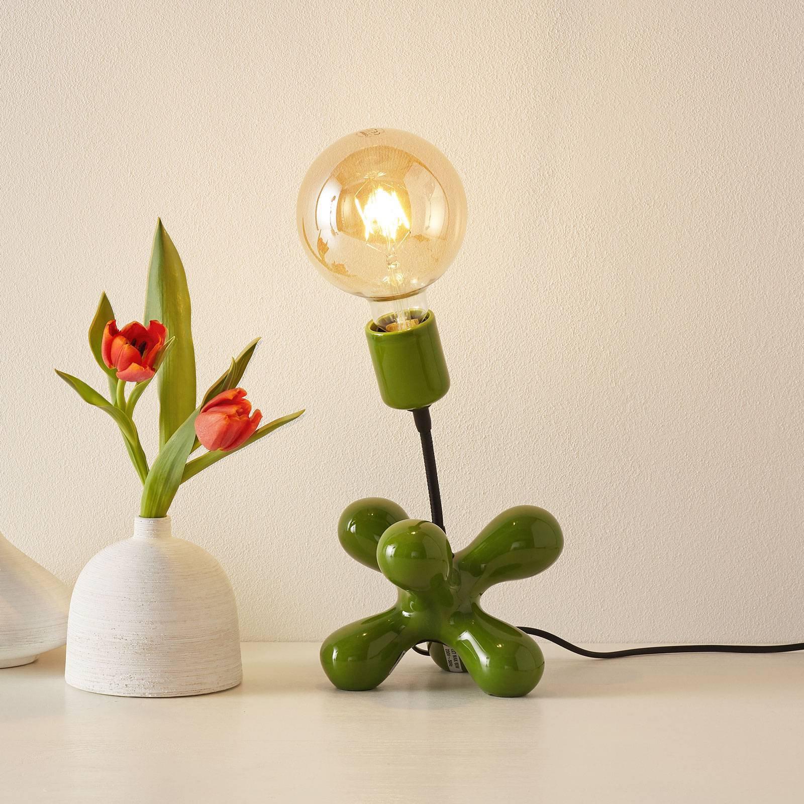 Keramisk bordlampe L181 med fleksarm, grønn blank