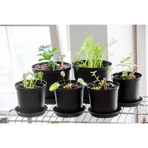 Omplanteringskruka Plast 100% Recycled, Svart Ø 18 cm, volym 3,5 liter