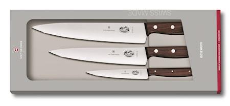 Knivset med 3 delar med trähandtag