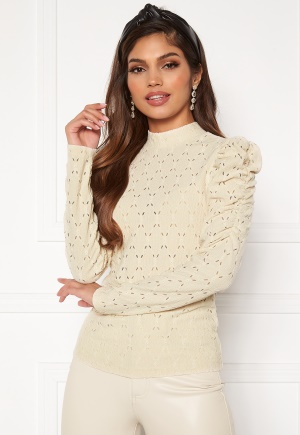 ONLY Rosaline L/S Highneck Puff Top Pumice Stone XL