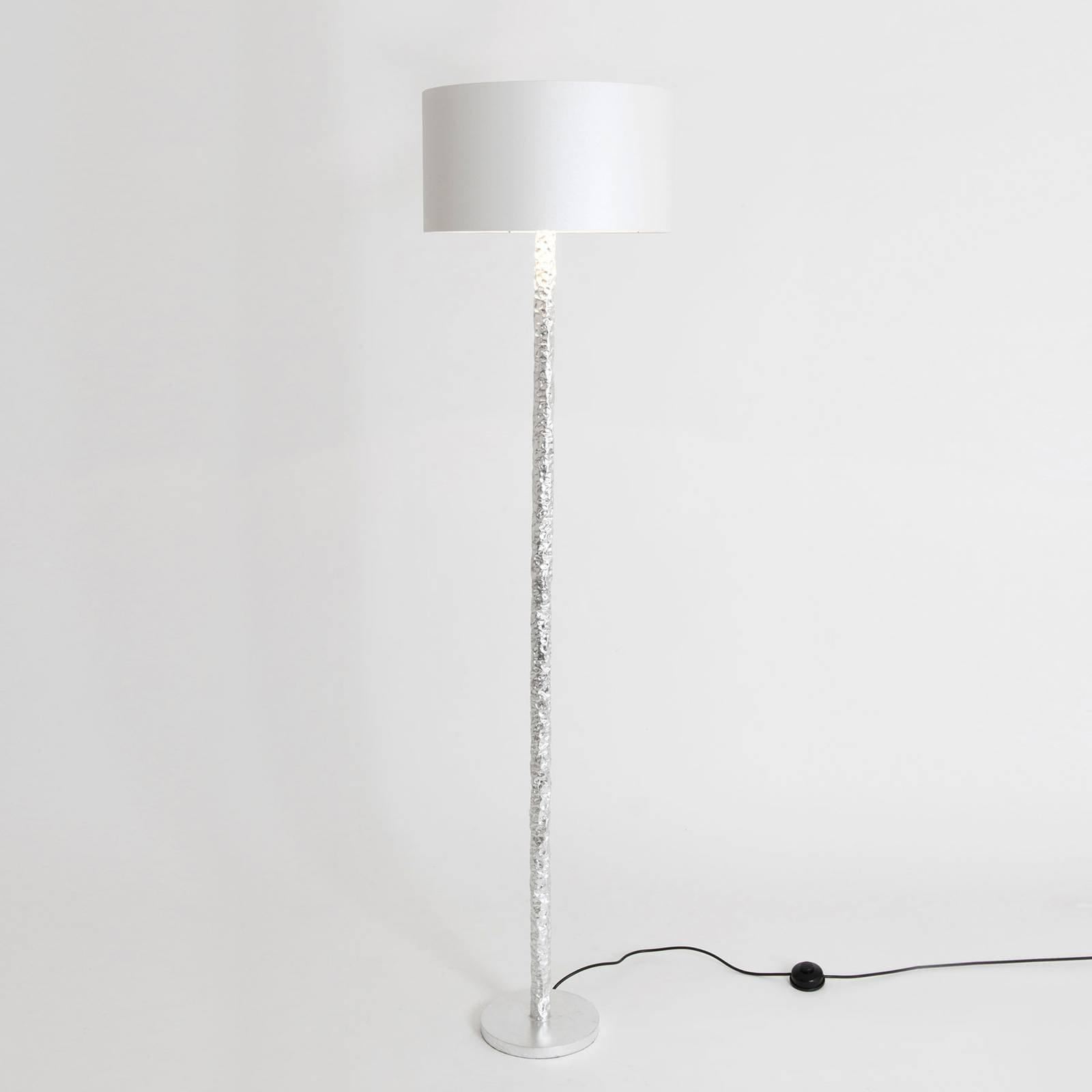 Gulvlampe Cancelliere Rotonda, silke, hvit/sølv