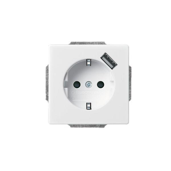 ABB 2011-0-6161 Vegguttak 1-veis, inkl. USB 0,7 A Hvit