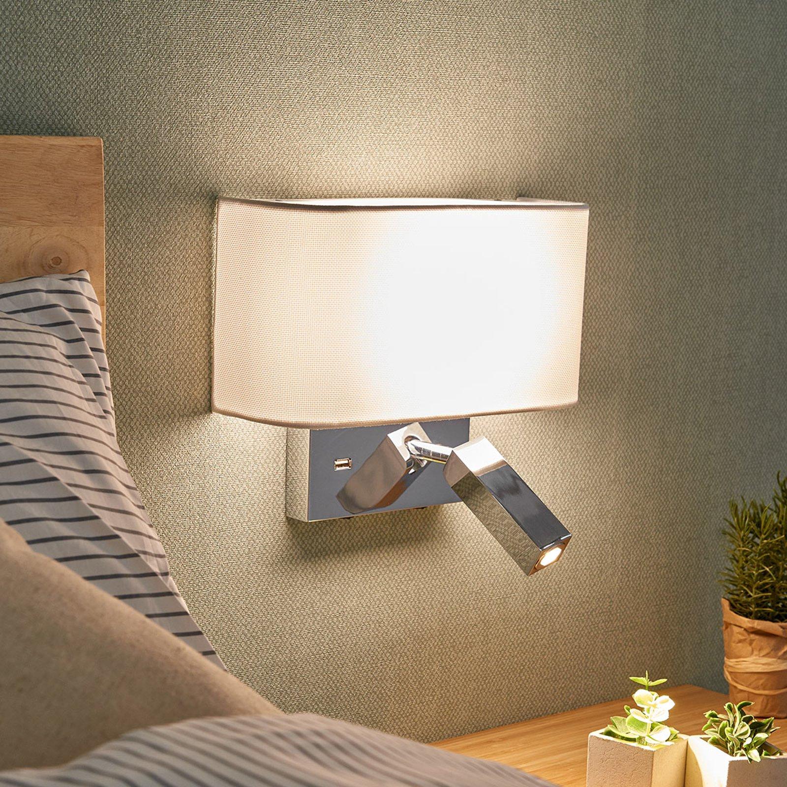 LED-vegglampe Virve med leselys og USB-port