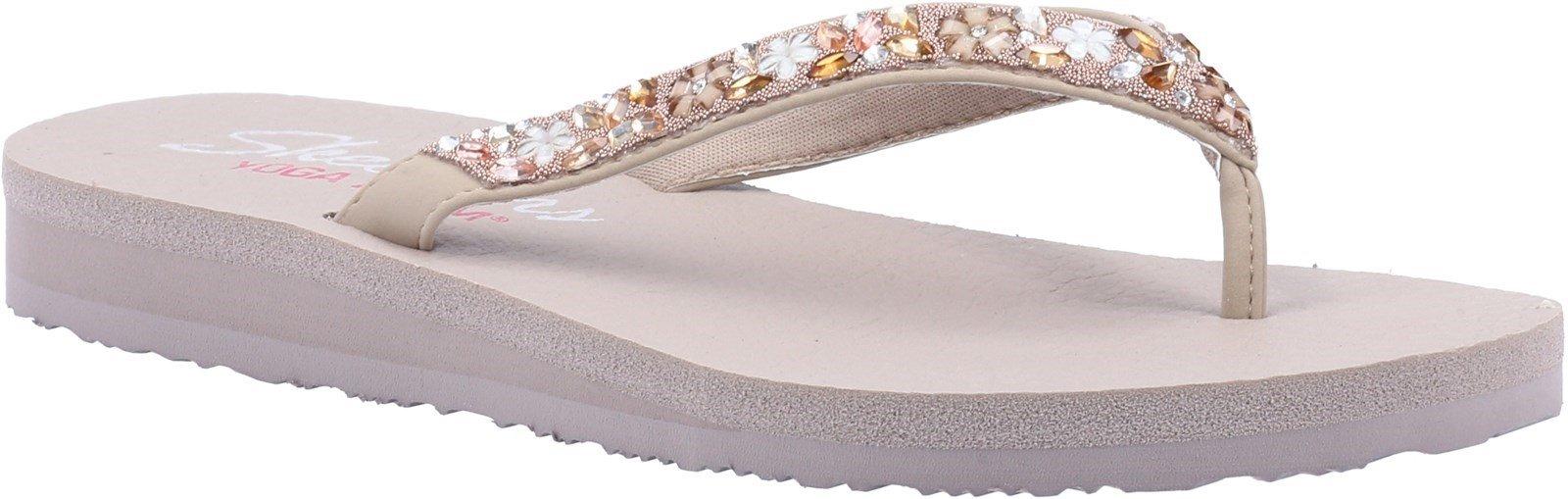 Skechers Women's Meditation Daisy Summer Sandal Various Colours 32175 - Taupe/Multi 3