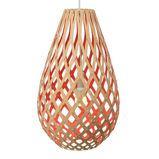 david trubridge Koura pendellampe 50cm bambus-rød