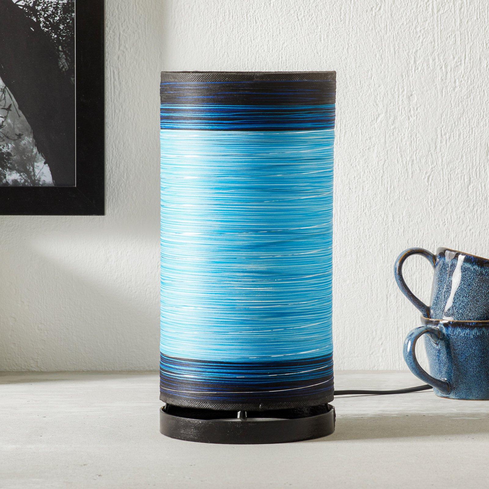 Bordlampe Julie viklet inn med tråder, blå