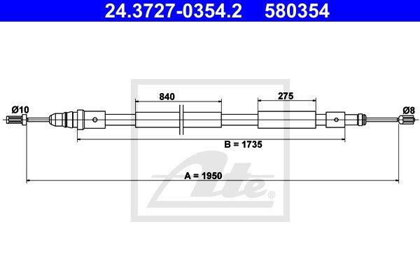 Käsijarruvaijeri ATE 24.3727-0354.2