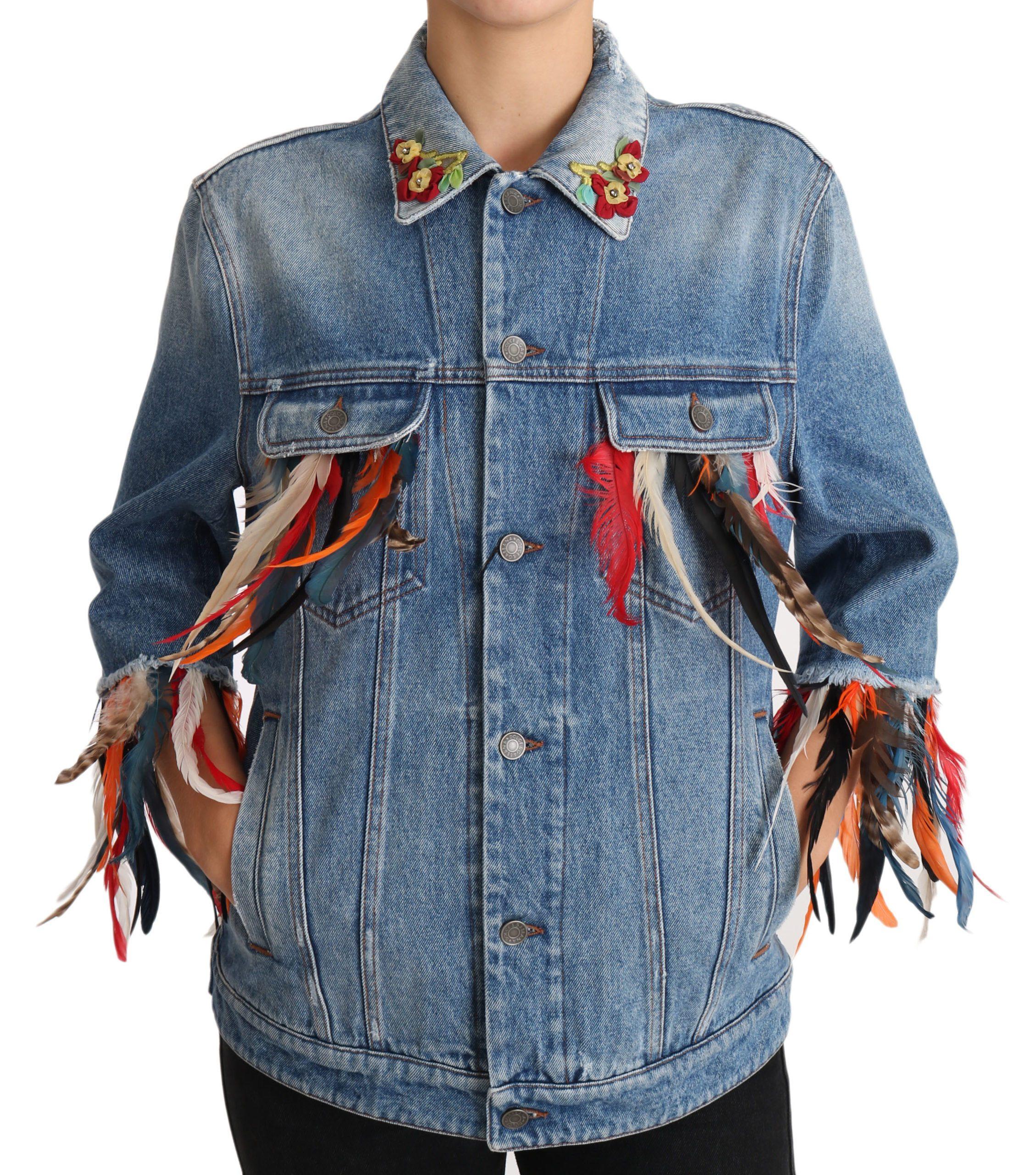 Dolce & Gabbana Women's Feather Floral Jacket Blue JKT2422 - IT44|L