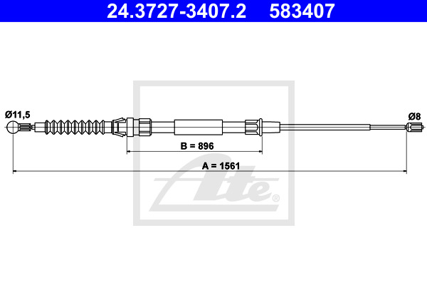 Cable, parking brake ATE 24.3727-3407.2
