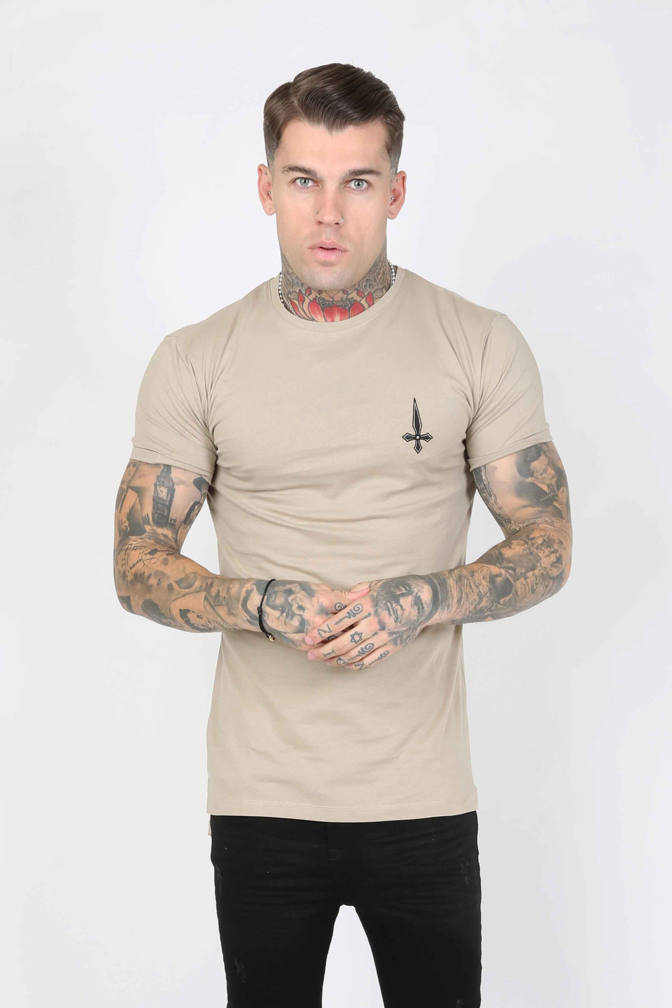 Core Twinpack Men's T-Shirt - Black/Taupe, Small