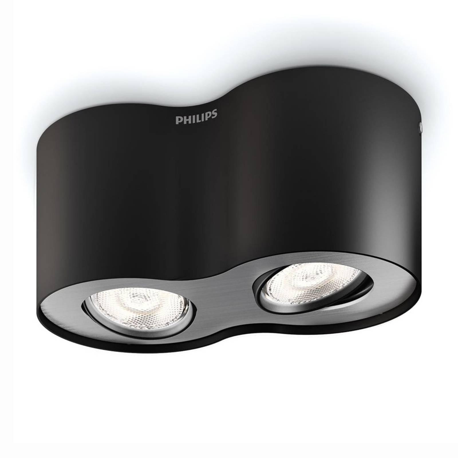 Phase – musta LED-kohdevalaisin, kaksilamppuinen