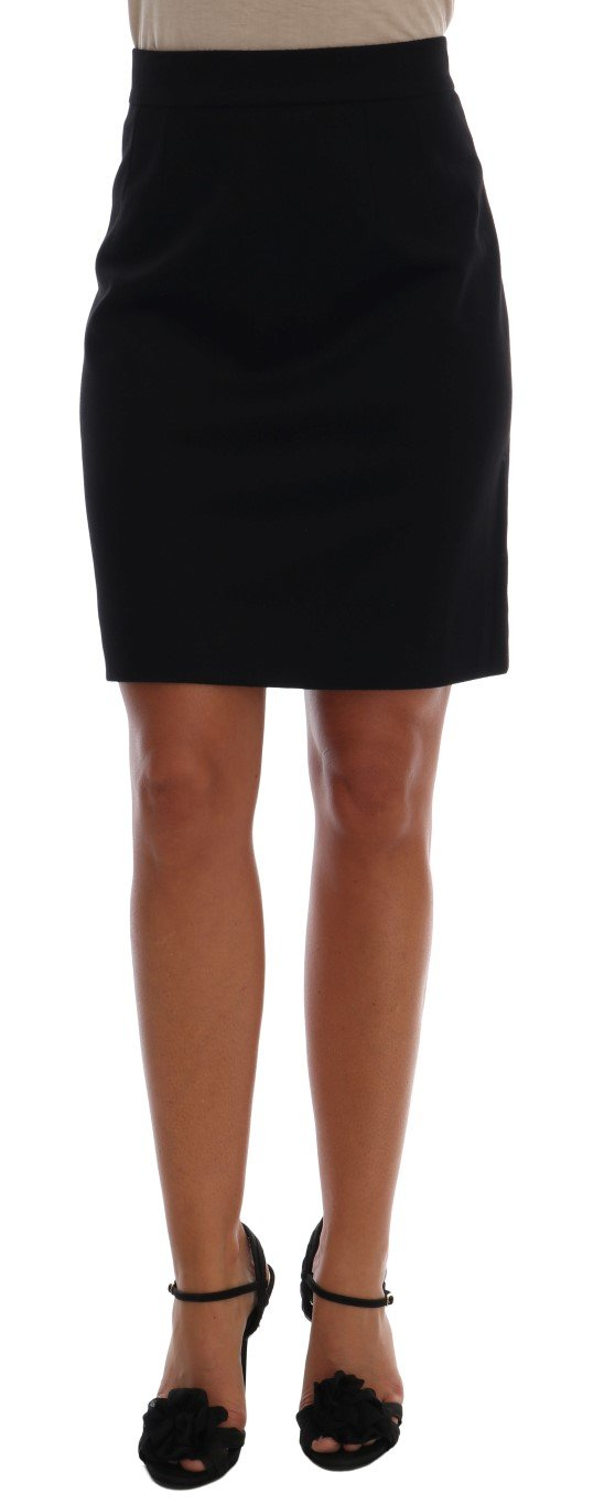 Dolce & Gabbana Women's Cashmere Straight Pencil Skirt Black SKI1051 - IT48   XL