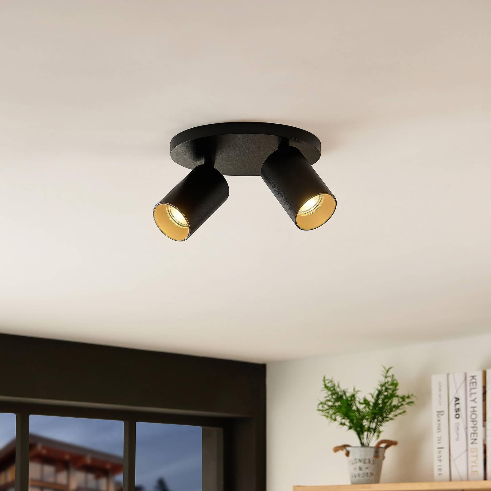 Arcchio Brinja -kattospotti, 2-lamppuinen, musta