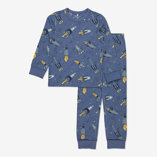 Todelt pyjamas med planettrykk blå