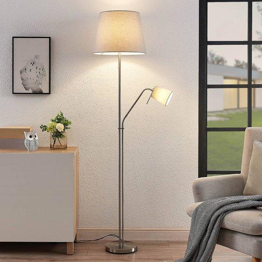 Lindby Nantwin gulvlampe tekstilskjerm, grå