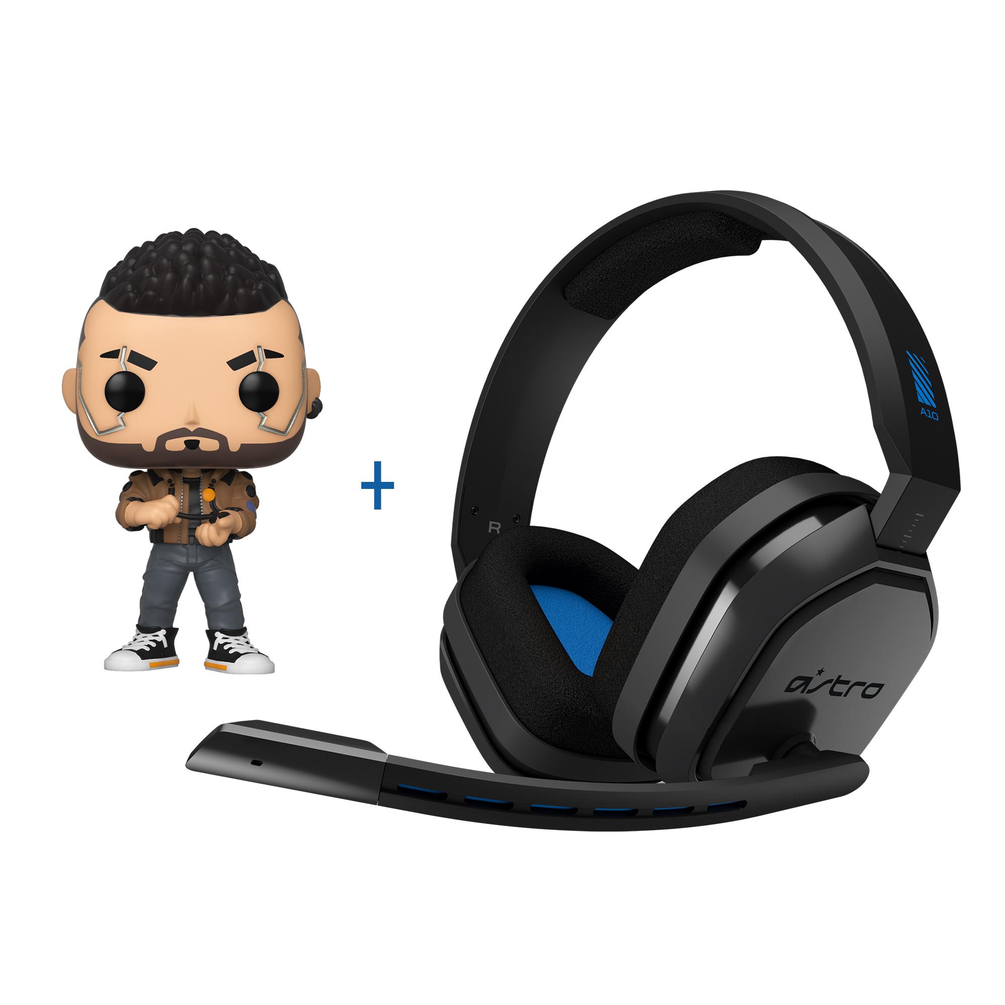 Astro - A10 Gaming Headset PS4+PC Grey/Blue + Funko! POP Cyberpunk 2077 -V-Male (47159) - Bundle