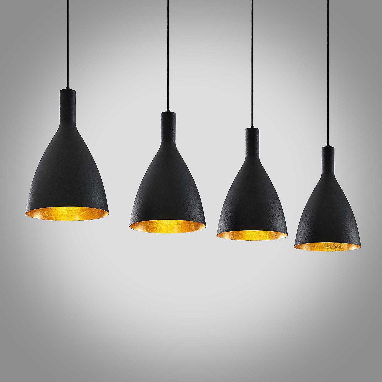 Arcchio Arthuria -riippuvalo, 4-lamp., musta