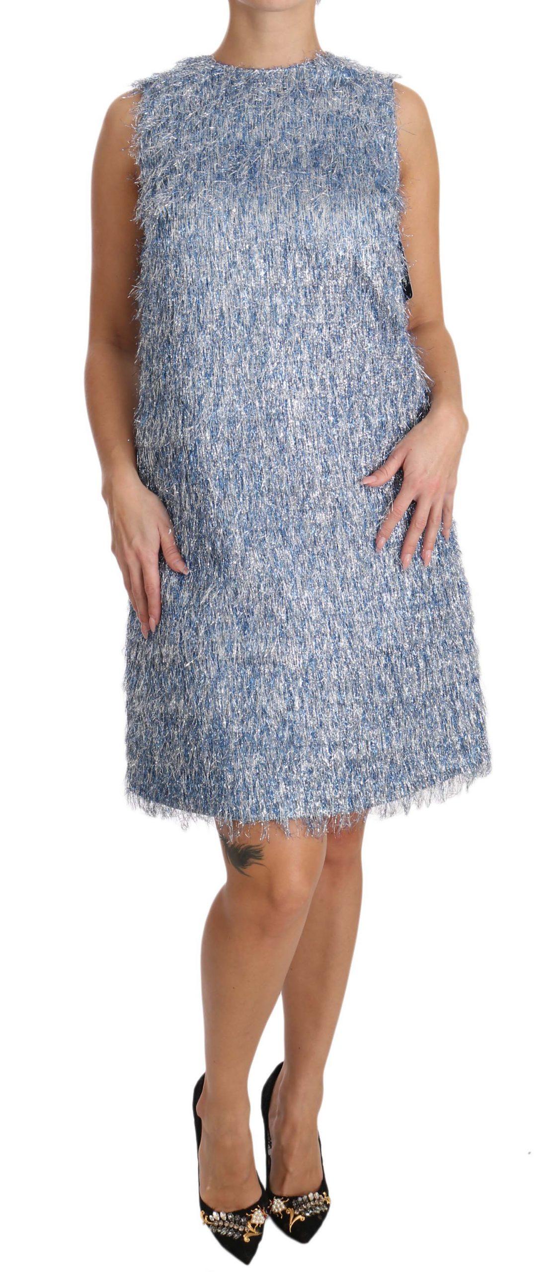 Dolce & Gabbana Women's Fringe Shift Dress Light Blue DR1603 - IT40 S