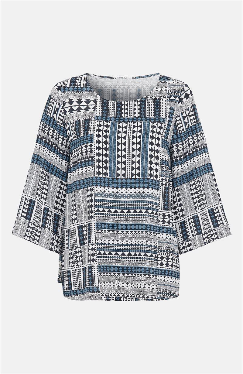 Kuvioitu pusero, jossa leveät hihat