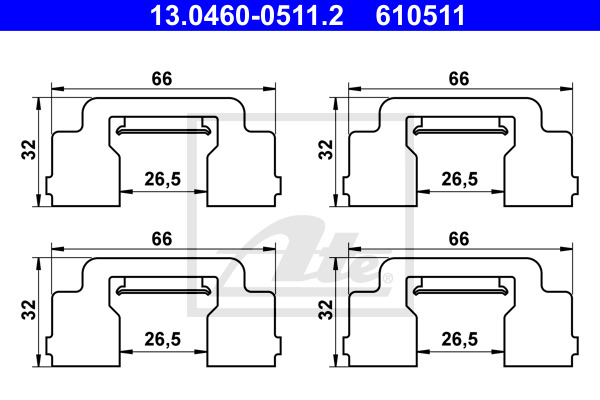 Tarvikesarja, jarrupala ATE 13.0460-0511.2