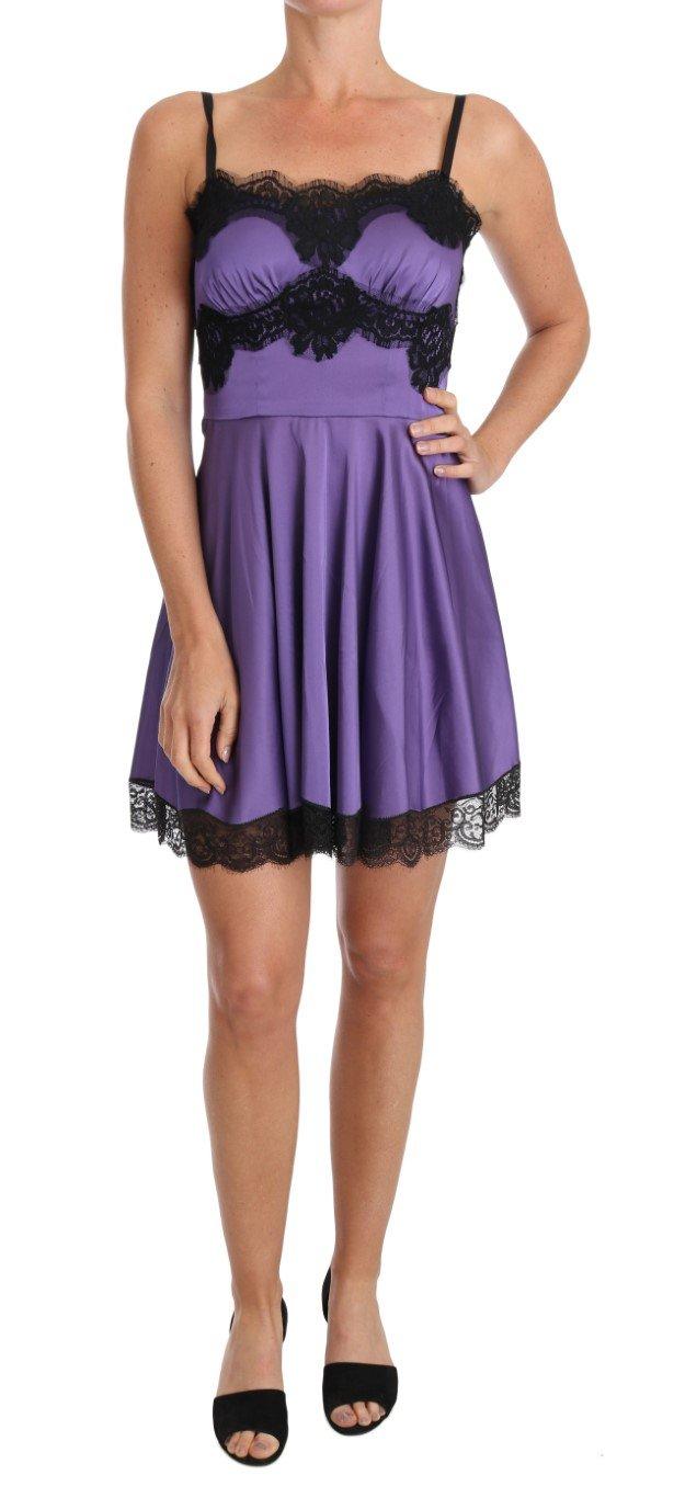 Dolce & Gabbana Women's Stretch Lace Dress Purple BIK093 - IT44 L