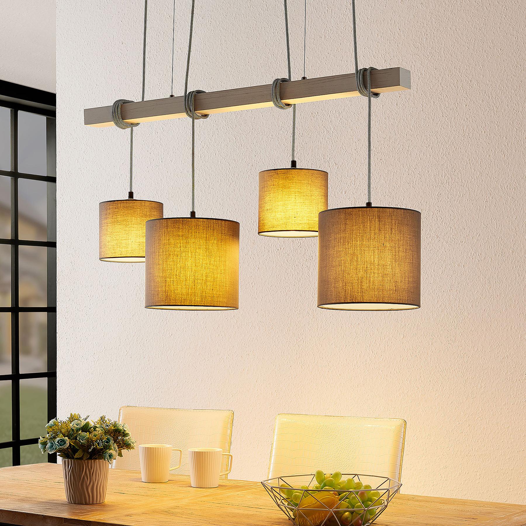 Lindby Rukaia -riippuvalo, harmaa, 4-lamp.