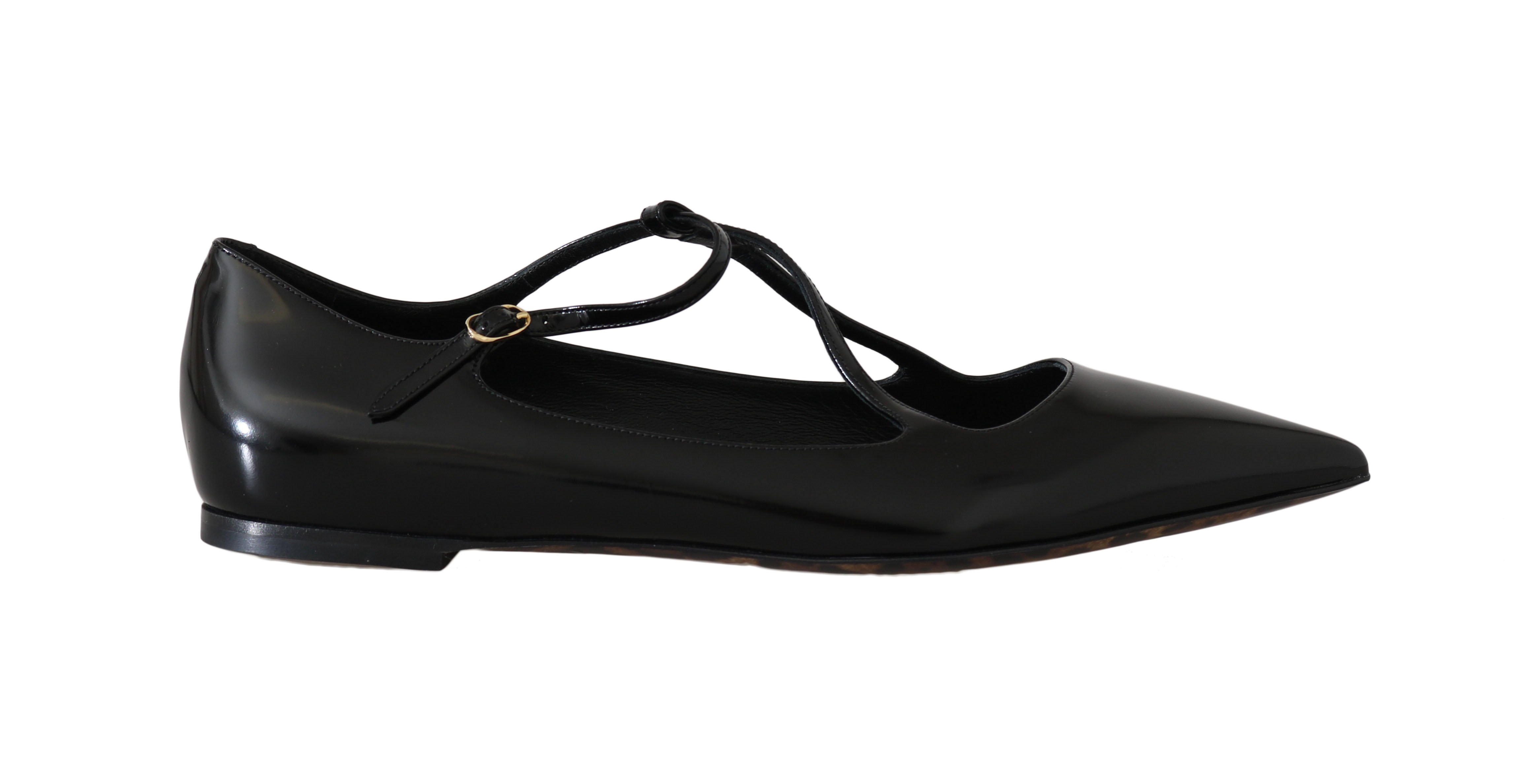 Dolce & Gabbana Women's Leather Leopard Ballet Flats Black LA5625 - EU36.5/US6