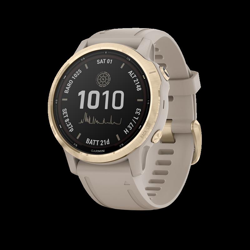 Garmin fenix® 6S Pro Solar Edition GPS-klokke, Lys Gullfarget