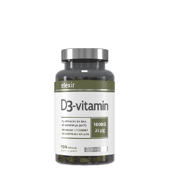 Elexir Pharma D3-vitamin, 25 mcg, 1000 IE, 100 kapselia