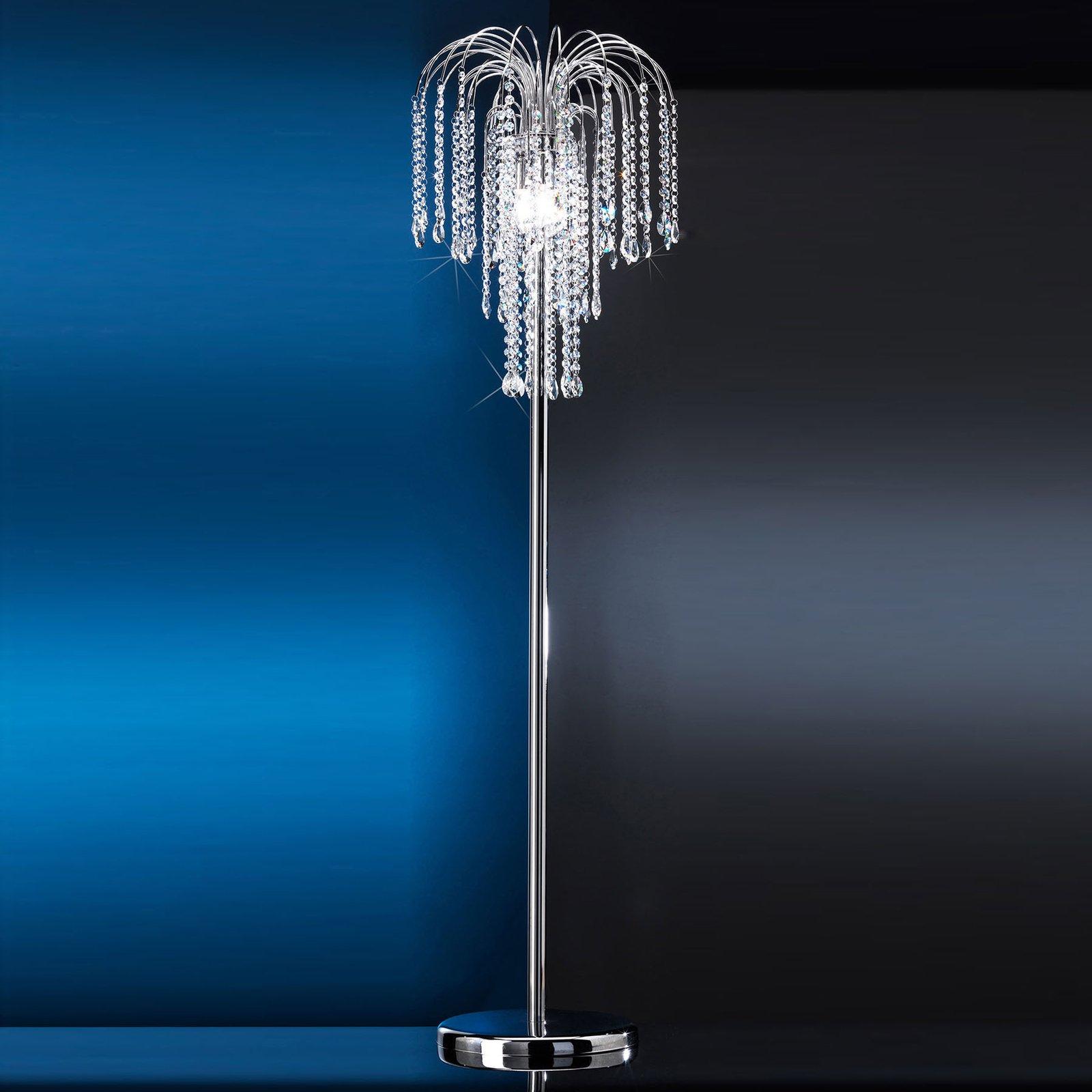 Gulvlampe Pioggia med krystallregn, krom