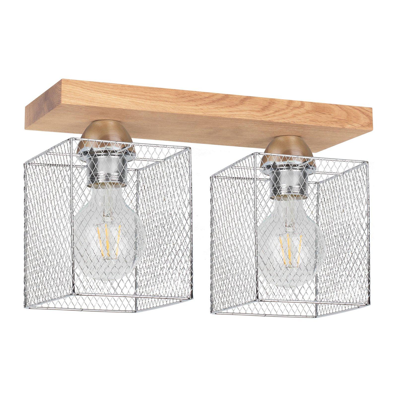 Taklampe Norman Wood 2 lyskilder, oljet eik