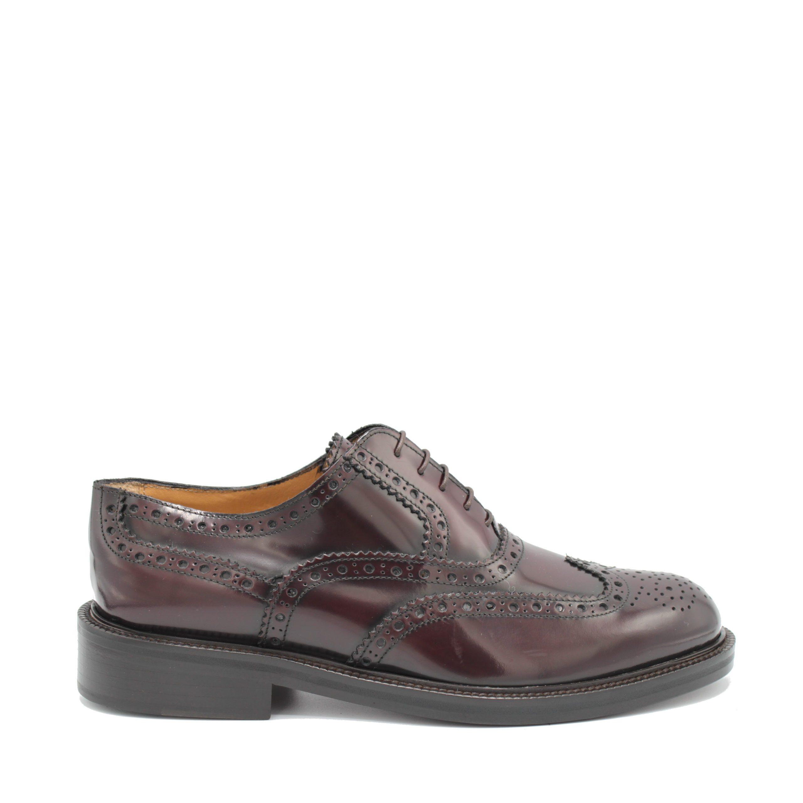 Saxone of Scotland Men's Spazzolato Leather Laced Brogue Shoe Bordeaux 080_Bordeaux - EU40.5/US7.5