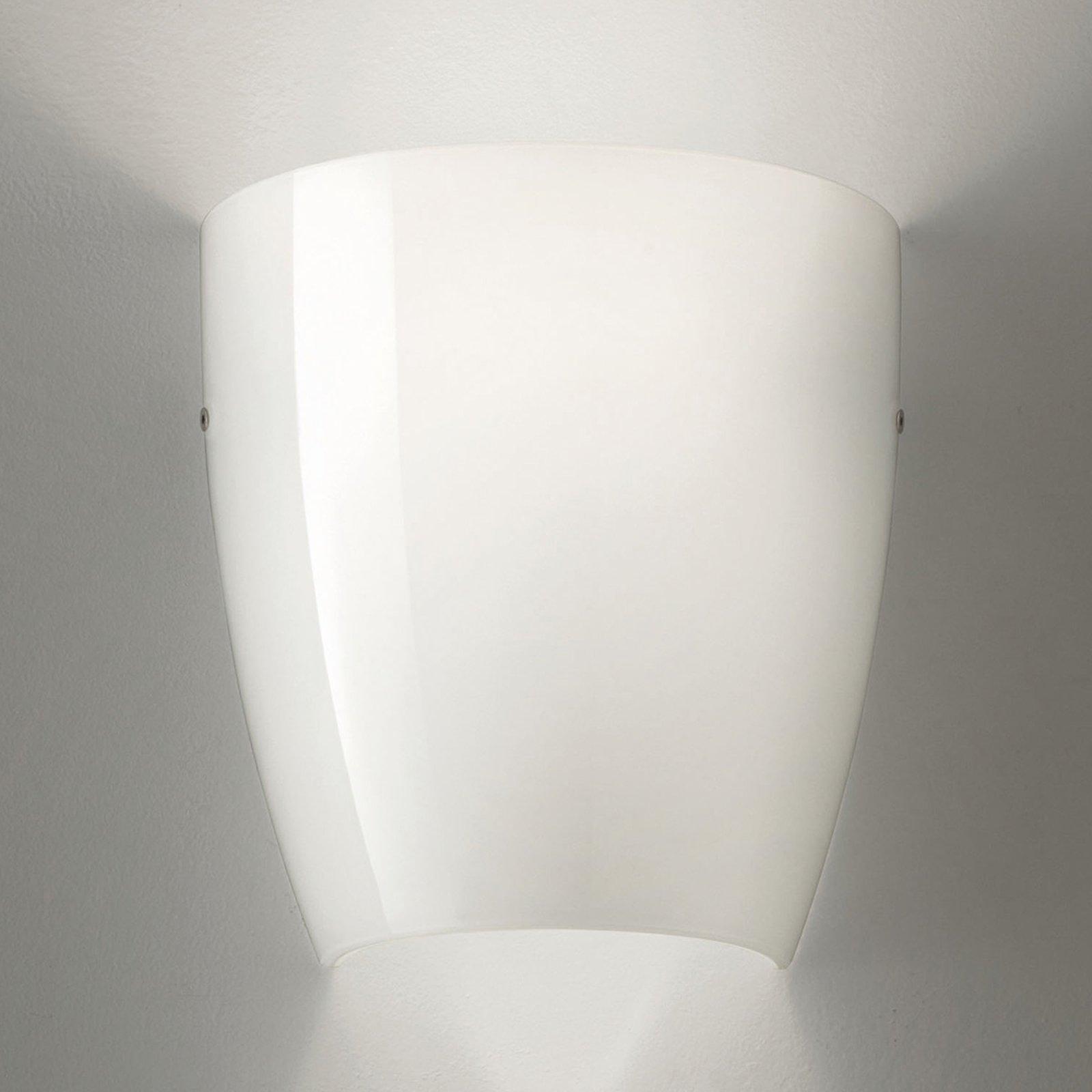 Vegglampe Dafne av glass glossy hvit